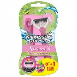 Jednorázový holicí strojek Sword Xtreme 3 Beauty Sensitive - 3+1 ks - Wilkinson