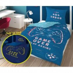 Bavlněné povlečení - Game Over - modrá - svítící - 140 x 200 cm - Detexpol