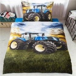 3D povlečení - Traktor - modrý - 140 x 200 cm