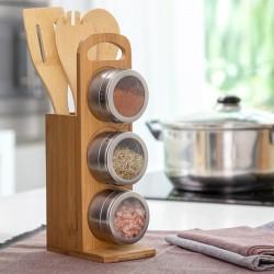 Set bambusového stojanu, vařeček a magnetických dóz - InnovaGoods