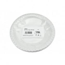 Papírový tácek - 23 cm - bílý - 20 ks - PBL