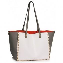 Elegantní kabelka LS00477 - šedo-bílá - LS Fashion
