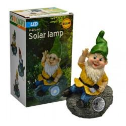 Zahradní trpaslík z odolného plastu s LED diodou a solárním dobíjením - 22 cm - zelený - ProGarden