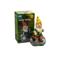 Zahradní trpaslík z odolného plastu s LED diodou a solárním dobíjením - 22 cm - žlutý - ProGarden