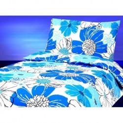 Bavlněné povlečení na dvě lůžka - modré květiny - 140 x 200 cm