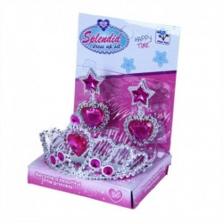 Princeznovská korunka s náušnicemi - růžová - Rappa