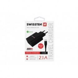 Síťový adaptér s micro USB kabelem - 2x USB - 2,1 A - černý - Swissten