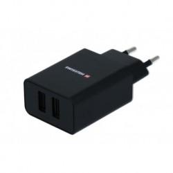 Síťový adaptér Smart IC - 2x USB - 2,1 A - černý - Swissten