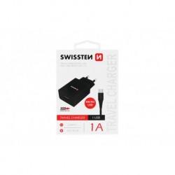 Síťový adaptér 1 A + kabel micro USB - černé - Swissten