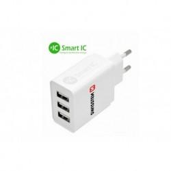 Síťový adaptér Smart IC - 3x USB - 3,1 A - Swissten