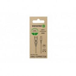Datový kabel USB / USB-C - 1,2 m - bílý - eko balení - Swissten
