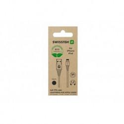 Datový kabel USB / Lightning - 1,2 m - černý - eko balení - Swissten