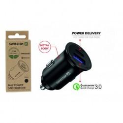 CL adaptér Power Delivery - USB-C + Quick Charge 3.0 - 36 W - kovový - eko balení - Swissten