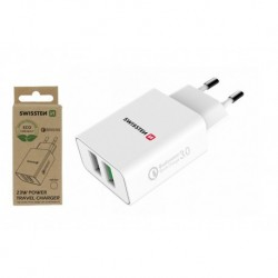 Síťový adaptér - 2x USB QC 3.0 + USB - 23 W - bílý - eko balení - Swissten