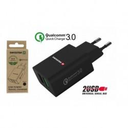 Síťový adaptér - 2x USB QC 3.0 + USB - 23 W - černý - eko balení - Swissten
