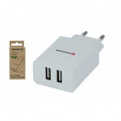 Síťový adaptér Smart IC - 2x USB - 2,1 A - bílý - eko balení - Swissten