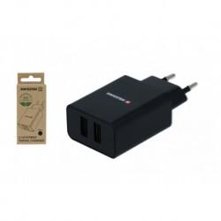 Síťový adaptér Smart IC - 2x USB - 2,1 A - černý - eko balení - Swissten