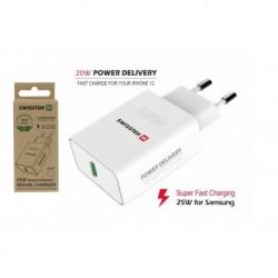 Síťový adaptér PD - 25 W - pro iPhone a Samsung - bílý - eko balení - Swissten