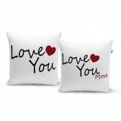 Polštářky s potiskem - Love you, Love you more - 40 x 40 cm - 2 ks - Sablio