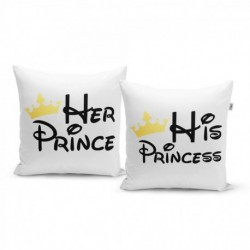 Polštářky s potiskem - Princ a Princess - 40 x 40 cm - 2 ks - Sablio