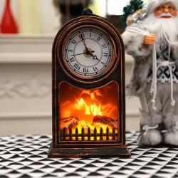 Retro hodiny s imitací hořícího krbu